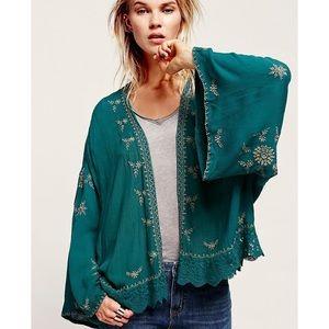 Free People Green Embroidered Kimono Jacket